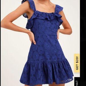 Lulus Colbalt Blue Eyelet Lace Dress! Brand New!